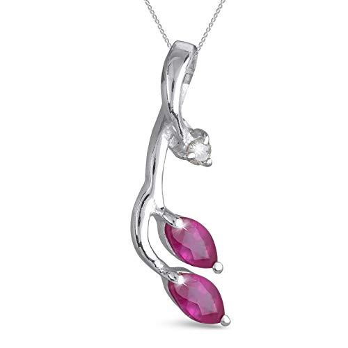 aden' S jewels-pendentif Rubin und diamant-argent-femme-rouge-chaîne inklusive