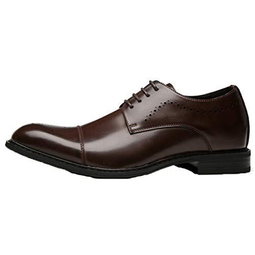 Zapatos de Vestir para Hombres Color sólido Patchwork Punta Puntiaguda Zapatos Bajos de Cuero Durables y Transpirables Derbys con Cordones para Vestido de Boda