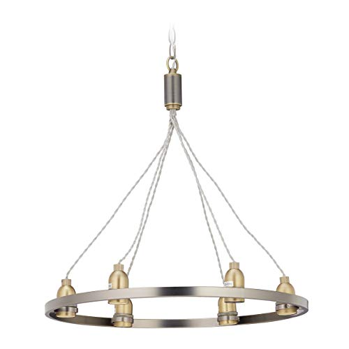 Relaxdays, zilveren kroonluchter industriële, 6-pits hanglamp, ijzer, vintage look, E27-fitting, ring Ø 55 cm, goud, 80 x 55 x 55 cm
