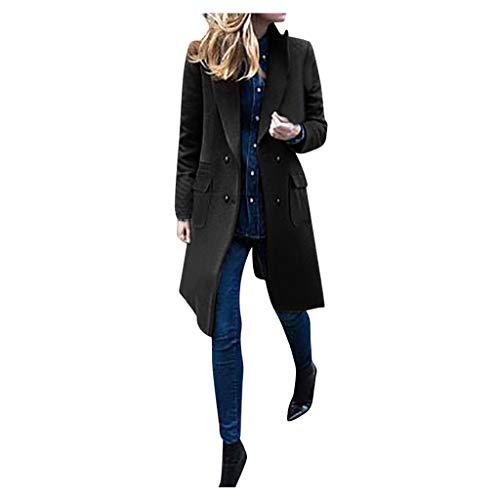 Zegeey Damen Langer Mantel Revers Trenchcoat Langjacke Outwear Coat Wollmantel Herbst Winter Pullover Bluse(Schwarz,42 DE / 3XL CN)