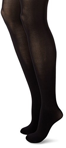 Hanes Women's Powershapers Firm Control High Waist Opaque Tights,Black,Large
