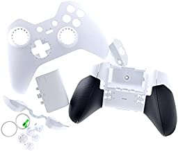 Deal4GO Shell Housing Set w/Rubber Grips LB RB Bumper ABXY Buttons Battery Cover Replacement for Xbox One Elite Controller White Special Edition