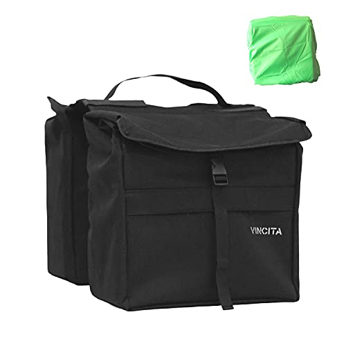 Vincita Top Load Double Pannier Water Resistant Cycling Side Bags - with Rain Cover, Large, Carrying Handle, Reflective Spots - Bike Rack Carrier...
