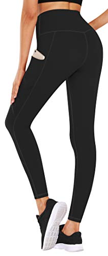 TQD High Waist Yoga Pants with Pockets, Yoga Pants Tummy Control Workout Leggings, 4 Way Stretch Leggings with Pockets Black