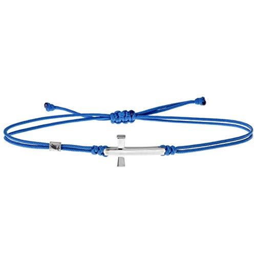 Wind Passion Bracciale Blu Corda con Ciondolo Croce, Braccialetto Kabbalah Stringa Nautica Regolabili per Uomo Donna Bambini