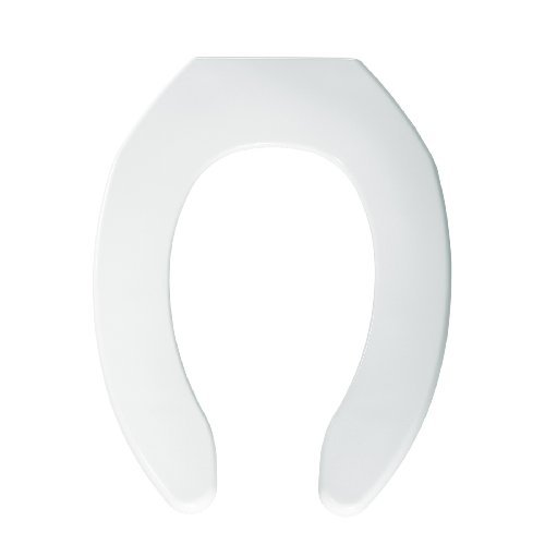 Bemis 1055SSC000 Plastic Elongated Toilet Seat Open Front Less Cover with Self Sustaining Check Hinge, White by Bemis