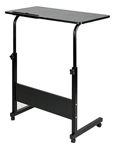 BEJOY Laptop Desk Mobile Computer Desk with Wheels Stand-up PC Table Side Table for Bed Sofa Height Adjustable Workstation Standing Desk, Black