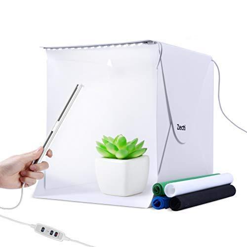 lighting ever light boxes Zecti 12inch/30cm Portable Photo Studio Box with 2 Adjustable LED Strip Lights and 4 Backdrops, Folding Table Top Photo Photography Studio Lighting Light Tent Kit