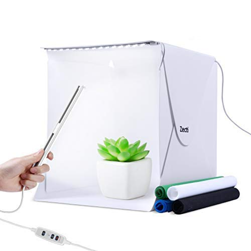 Zecti 12x12 inch/30x30cm Portable Photo Studio Box, Table Top Photo Photography Studio Lighting Light Tent Kit with 2 Adjustable LED Strip Lights and 4 Backdrops