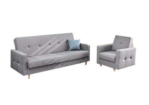 mb-moebel Polstergarnitur Sofa und Sessel Couch mit Bettkasten und Schlaffunktion Polstersofa 3+1 Perry