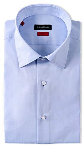 Herren Hemd aus Baumwolle Slim Fit Langarm Bügelleicht natürlicher Stretch (hellblau, 42)