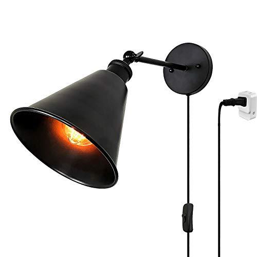 Lámpara de Pared Vintage Industiral Lámpara de Noche con Interruptor de Cable y Enchufe E27 Luz de Pared Negro Metal Retro Ajustable Lampara de Lectura por Sala Cuarto Comedor Cafetería Estudiar
