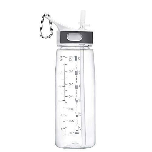 BOTTLED JOY Sport Borraccia con Cannuccia, Water Bottle 800ml Borraccia con Indicatore del Tempo Bottiglia d'Acqua Lavabile in Lavastoviglie Senza BPA