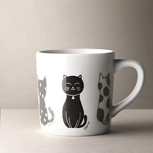 DTZN Cute Cat Mug for Coffee or Tea, Ceramic Cup Unique 12 Oz Mugs Best Presents for Pet Mom or Dad, Novelty Gift Ceramic Mug for Friends Gift Present-A