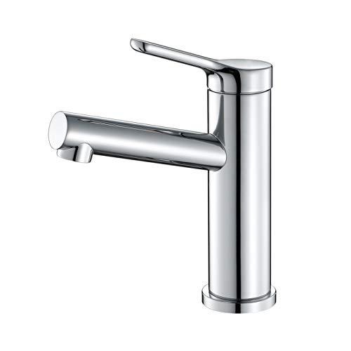 Faulkatze Grifo monomando para lavabo acero inoxidable Monomando Lavabo Grifo Mezclador Para Baño, latón cromado