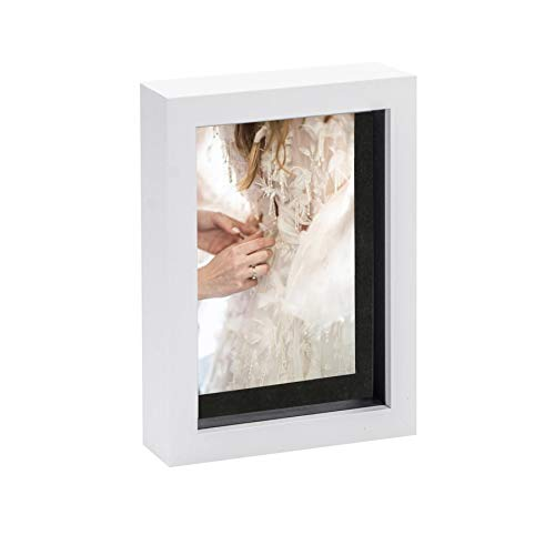 Nicola Spring White 5 x 7 3D Shadow Box Photo Frame - Craft Display Picture Frame with 3.5 x 5 Mount - Glass Aperture - White/Black