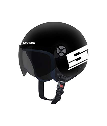 Steelbird Junior Soldier Open Face Helmet for Kids with Extra Free Clear Visor, Aerodynamic Enabled (For 14+ Year Old, 580 MM, Dashing Black with Smoke Visor)