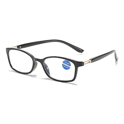 CHENPENG Gafas De Lectura con Bloqueo De Luz Azul, Anteojos Ultravioleta Antirreflejos, Lectores De Bisagras De Resorte Antideslumbrantes para Mujeres Y Hombres,Negro,2.0X