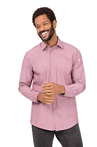Chef Works Men's Chambray Shirt, Dusty Rose, X-Large