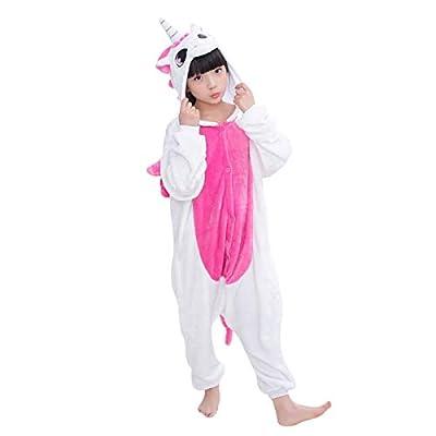 DEBAIJIA Pijama Animal Unicornio para Niños Niñas Disfrace Cosplay Franela Traje del Anime Invierno Calentito Pyjamas Navidad Onsie Rose-85