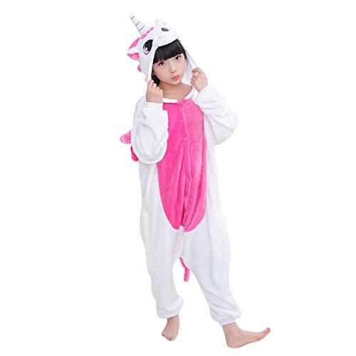 DEBAIJIA Pijama Animal Unicornio para Niños Niñas Disfrace Cosplay Franela Traje del Anime Invierno Calentito Pyjamas Navidad Onsie Rose-115