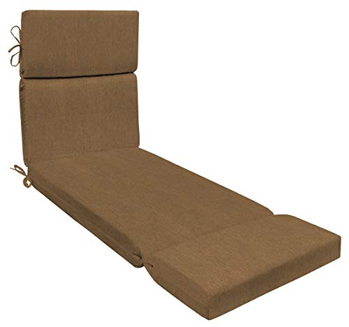"""Honeycomb Indoor/Outdoor Sunbrella Canvas Teak Chaise Lounge Cushion: Recycled Polyester Fill Patio Cushions: 71""""L x 22""""W x 3.5""""H"""