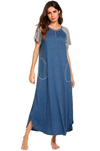 Ekouaer Long Nightgown,Women's Loungewear Short Sleeve Sleepwear Full Length Sleep Shirt with...