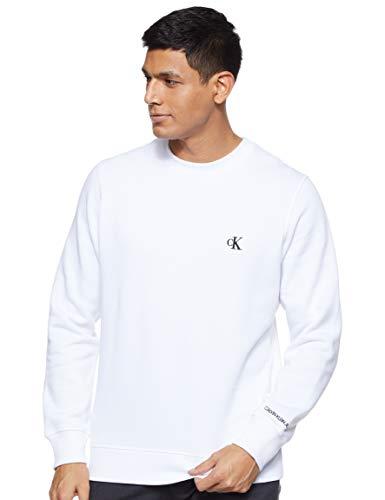 Calvin Klein Jeans Mens CK Essential REG CN Sweatshirt, Bright White, XS