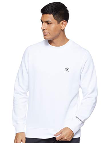 Calvin Klein Jeans Mens CK Essential REG CN Sweatshirt, Bright White, L
