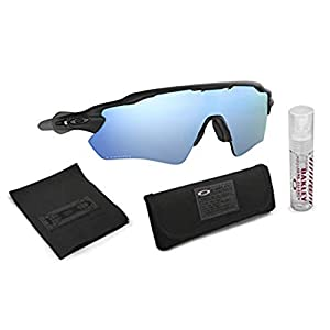 Oakley Radar EV Path Sunglasses (Matte Black Frame/Deep Prizm Water Polarized Lens) with Lens Cleaning Kit (Black)