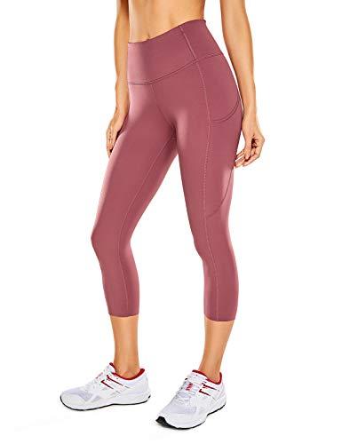 CRZ YOGA Mujer Cintura Alta Leggings Deportivas Fitness Running Pantalones Capri con Bolsillos -48cm Misty Merlot 42