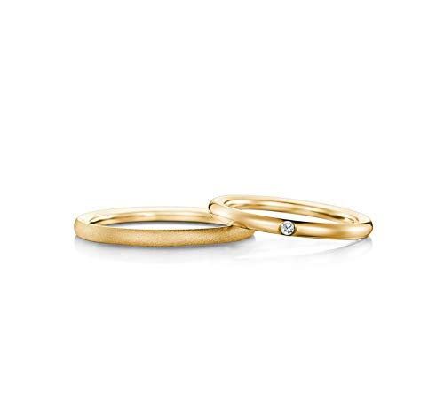 AnazoZ His and Hers Couple Rings 18K Gold Diamond 0.02ct Wedding Band Set Anniversary Rings Women Size O 1/2 and Men Size T 1/2