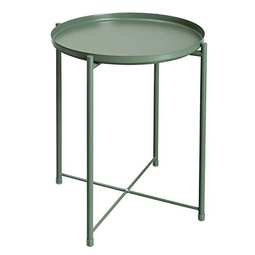 Home Equipment Side Table Tray Metal End Table Sofa Table Foldable Small Side Tables Waterproof Outdoor And Indoor Snack Table Accent Coffee Table Hallway Furniture (Color : Green Size : 44 times 5