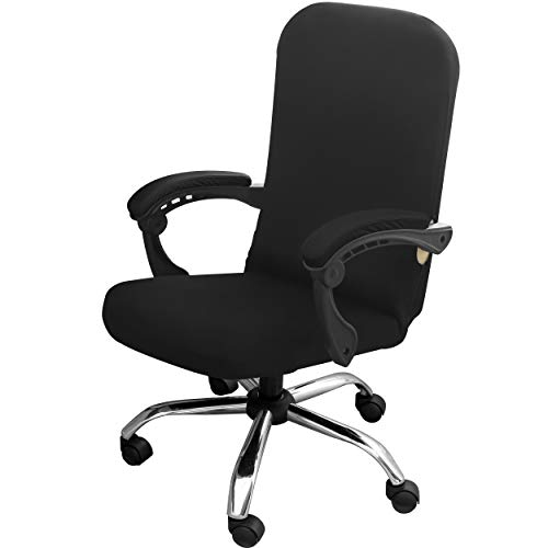 Gute Office Chairs Covers, Computer Office Chair Cover Stretchable, Large Chair Cover for Office Chair, Boss Desk Chair Seat Cover Slipcover with Zipper (Chair not Included) - Black