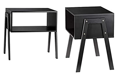 LASUAVY Bamboo Nightstand Stackable Side Table End Table Bedside Tables for Living Room/Bedroom/Nursery Room/Laundry Room/Study Room, Set of 2?Black