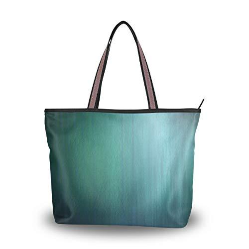 LORONA Frauen Blau Grün Alte Leinwand Schulter Handtasche Große Kapazität Einkaufstasche