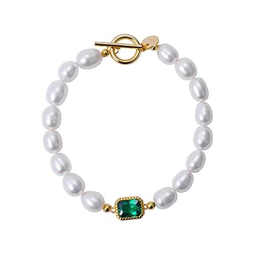 Shangwang - Pulsera de plata de ley 925 con perla natural verde y circonita, elegante OT de lujo, joya de moda, oro