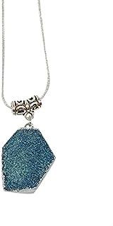 AGA Irregular Shaped Resin Pendant Necklace - Blue