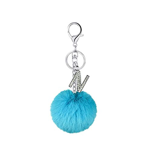 YSCSTORE HumoliStore 26-color English Letter Hair Ball Keychain, Creative Gift Pendant, Size: 15 * 8 * 8cm, Alloy Rhinestone Letter Keychain Key Ring and cheap (Color : 14.Aqua Green)