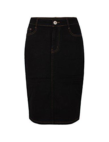 Fraternel Damen Jeans Rock Knielang Bleistift Stretch Schwarz 46