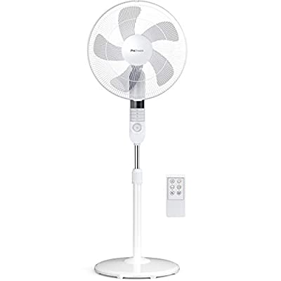 Pro Breeze® 16-Inch Pedestal Fan with Remote Control and LED Display | 4 Operational Modes | 80° Oscillation | Adjustable Height & Pivoting Fan Head | Perfect for Homes, Offices and Bedrooms