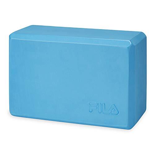 FILA Accessories Yoga Block - EVA Foam Blocks for Support, Balance & Stability | Yoga, Pilates, Barre, Stretching, Meditation - Blue
