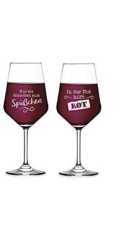 Juego de 2 copas de vino tinto, con frases divertidas, solo un vaso para el vaso y en la emergencia, color rojo, 510 ml