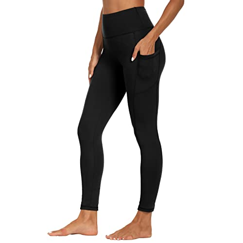 SYRINX High Waist Yoga Pants with Pockets for Women- Tummy Control 4 Way Stretch Workout Running Yoga Leggings (Black, X-Large)