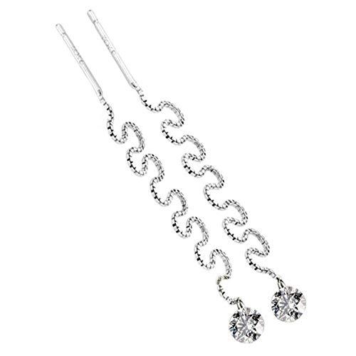 KFYU Silver Super Largo Borla Oreja línea Ebay Flash Taladro Pendientes Pendientes Femeninos Pendientes