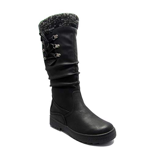 Stylish & Comfort Women's Fully Fur Lined Classic Mid-Calf Winter Boots Zipper-Up Warm Water Resistent Snow Shoes Black 11