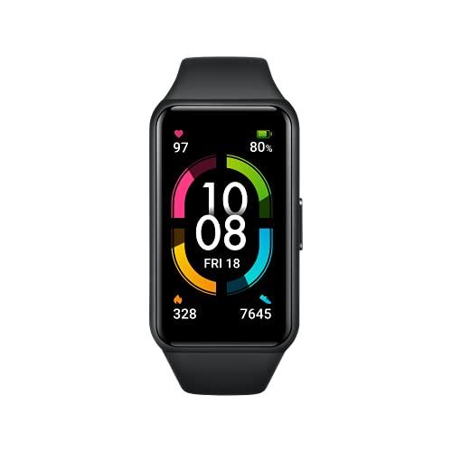 HONOR Band 6 Fitness Armband, 1,47'' AMOLED Display, Tracker mit Pulsuhr, Herzfrequenz- und SpO2-Überwachung, 2 Wochen Akkulaufzeit, 5ATM, Schrittzähler, Meteorite Black