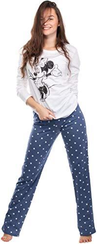 Brandsseller Pijama de dos piezas para mujer, pijama de ocio, conjunto con motivos en estilo de Minnie Mouse. blanco/azul S