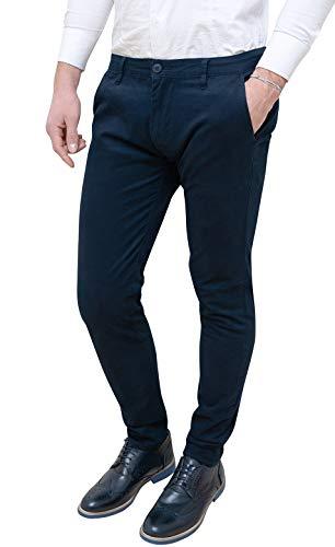 FB CLASS Pantaloni Uomo Slim Fit Estivi Casual Eleganti in Cotone (46, Blu)
