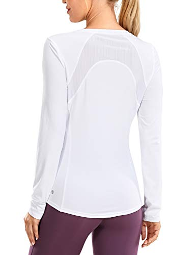 CRZ YOGA Women's Long Sleeves Workout Shirts Quick Dry Running Clothes Mesh Back Athletic Yoga Tops Loose Fit White Medium
